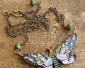 Wooden Moth or Butterfly Necklace.Vintage Postcard lithograph litho pendant.