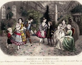 1850 Antique victorian FASHION engraving. Jane Eyre era, fad for Christmas Day from MAGASIN des DEMOISELLES.