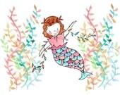 Under the Sea I -- Mermaid Seaweed Nursery Art Print