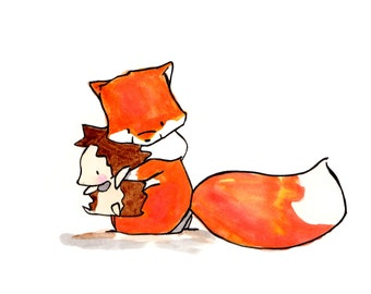 Found---Fox and Hedgehog--- Nursery Art Illustration Print