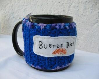 Coffee Cup or Mug COZY  - BLUE and purple- Sunny - Buenos Dias -