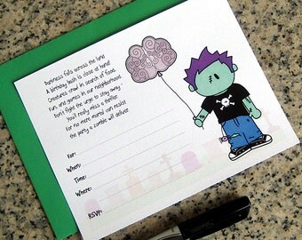zombie boy invitations cute little brains balloon for birthday halloween costume party  lined customizable with envelopes - set of 10