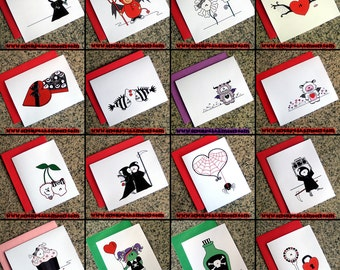 set of 10 choose your own set of cute goth valentines alternative dark love notes FLAT CARDS and colored envelopes