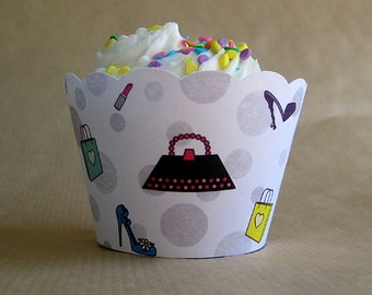shopping girl birthday party cupcake wrappers decorations - set of 12