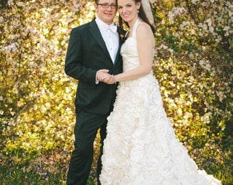 Custom Wedding Dress with Handmade Flowers and Halter Neckline - Pictures of Lily