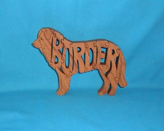Border Collie Dog Breed Handmade Scroll Saw Wooden Dog Puzzle