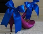 SHANI -- Large Satin Bow Bridal Bride Wedding Shoes Shoe Clips Royal Cobalt Something Blue, Customizable for the Bridesmaids