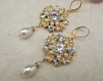 pearl bridal earrings Bridal Earrings Wedding Earrings  Rhinestone Wedding Earrings Bridal Chandeliers earrings statement earrings COLLEEN