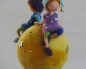 Waldorf inspired needle felted nursery mobile Home decor - Sitting on a star