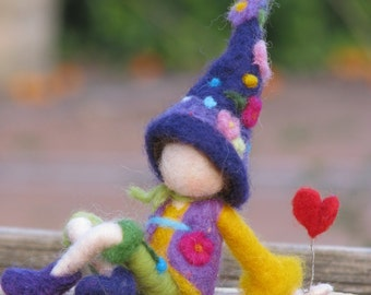 Waldorf inspired needle felted Valentine gnome