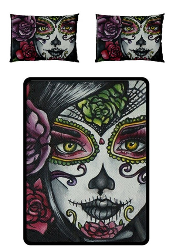 day of the dead blanket set queen 60 by 80 blanket with 2