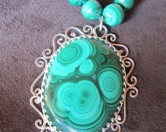 Natural Malachite Necklace Handcrafted in Sterling Silver with Malachite Beaded Chain - OOAK Ready to Ship