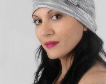 78-34 Silver Turban Head Wrap, Alopecia Scarf, Chemo Hat, Hat & Scarf Set