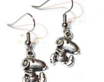 Charm Earrings: Snoopy Silver Charm Earrings - peanuts gang - charlie brown - dog earrings - beagle earrings - womens jewelry - kid earrings