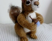 Squirrel soft sculpture needle felted animal