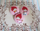 3 Little Red Riding Hood fabric covered buttons 1 1/8 inches