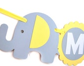 Baby Shower Banner name, Neutral Elephant Baby Shower Banner Baby Yellow and Grey Welcome Baby party banner  A460