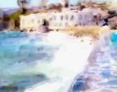 Watercolor Painting Greek SEA 8x10 Giclee Art Print Greece Ocean Scenic Painting