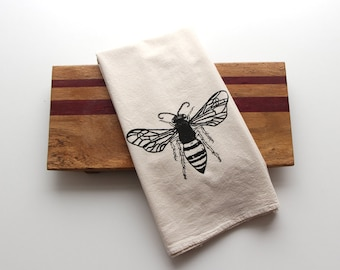 Natural Flour Sack Tea Towel - Honey Bee - Hand Screen Printed