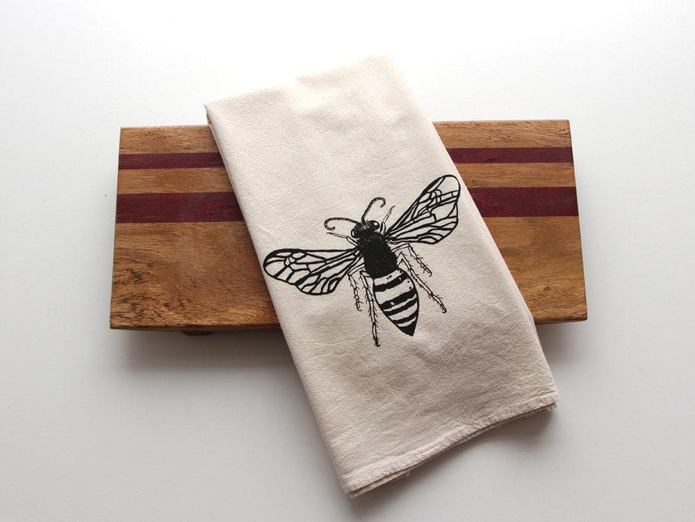 Natural Flour Sack Tea Towel Honey Bee Hand Screen Printed