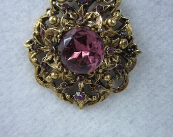 """Vintage Purple Necklace/ 1960s Drop Necklace/ 30"""""""