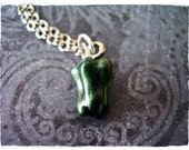 Green Pepper Necklace - Green Enameled Antique Pewter Bell Pepper Charm on a Delicate Silver Plated Cable Chain or Charm Only
