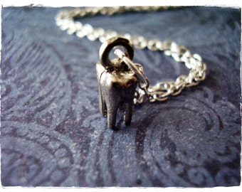Tiny Silver Tooth Necklace - Antique Pewter Tooth Charm on a Delicate Silver Plated Cable Chain or Charm Only