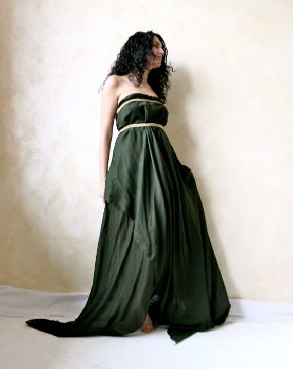 Ethereal fairy gown in moss green muslin gold & green by ...