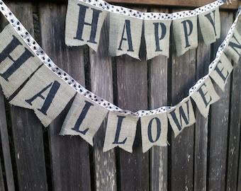 Happy Halloween Banner Sage Burlap Flags Halloween Decoration hand painted in black
