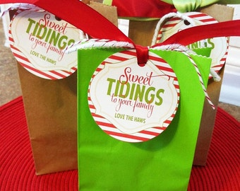 Christmas PRINTABLE Neighbor Gift Tag 'Sweet Tidings To Your Family' by Love The Dya