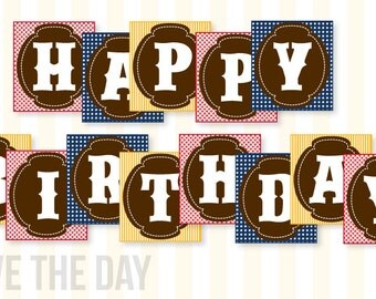 Gingham Cowboy Party PRINTABLE Happy Birthday Banner (INSTANT DOWNLOAD) by Love The Day