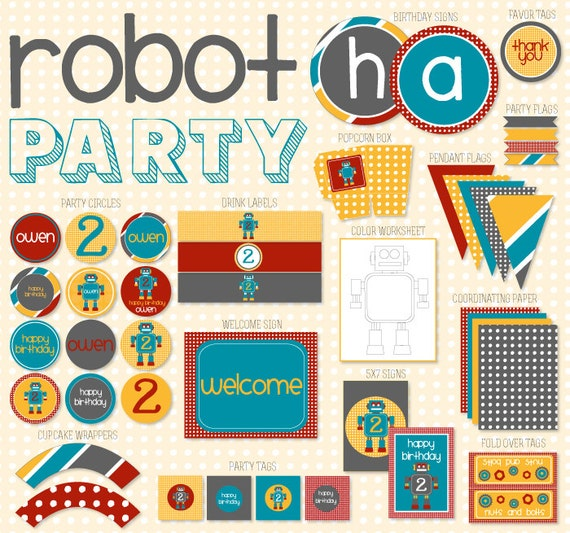 Robot PRINTABLE Party Kit by Love The Day