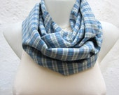 Plaid Pattern infinity Scarf,Loop Scarf,Circle Fabric Scarf