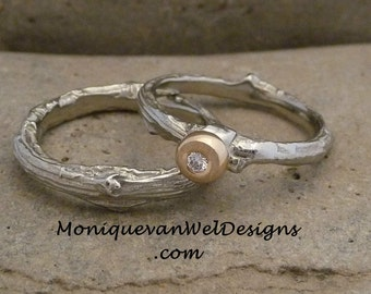 Diamond Twig Alternative engagement/wedding ring set in 14k White gold and yellow gold  Made to order