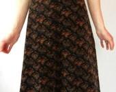 Vintage High Waisted Velvet Skirt, Size XXS-XS, Floral, Tiny Waist, Tumblr, 70's, Tumblr, Fall, Winter