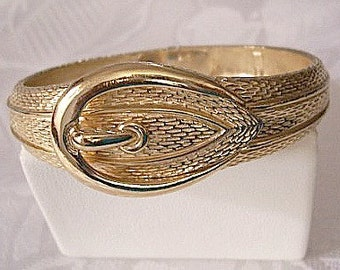 Belt Buckled Bracelet Bangle Gold Tone Vintage Avon Small Petite Size Textured Slide Hinged Clamper