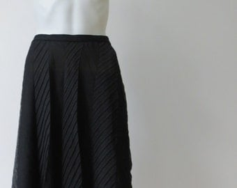 Chic Emporio Armani Semi-Sheer Pleated Black Skirt