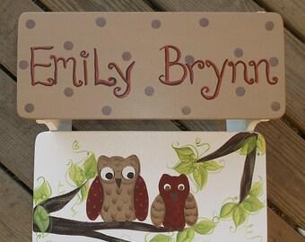 Wooden Kids  Steps & Stools  Boys or Girls Room Owls  Stepstool Bench Kids Furniture