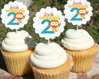 Birthday Cupcake Picks, Owl, Age, Happy, Colorful, Party