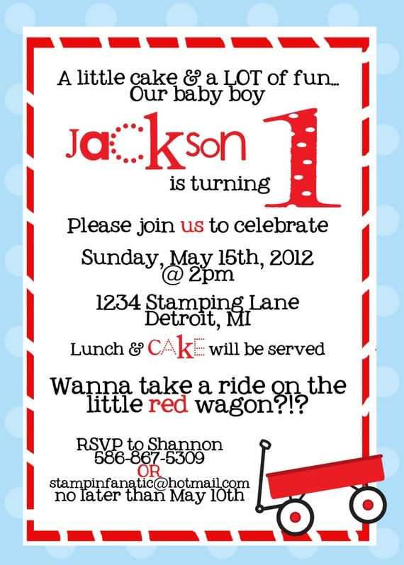 Little Red Wagon Collection: Set of 12, 5x7- Custom Invitations for birthday, baby shower. Red Wagon Party. Wagon Birthday.