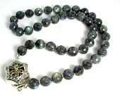 """LP 968  Beautiful Round Faceted Labradorite Hand Knotted Necklace   """" One Of A Kind """""""
