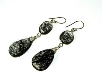 """LP 945  Black Rutilated Quartz And Sterling Silver Connector Earrings    """" """" One Of A Kind """""""