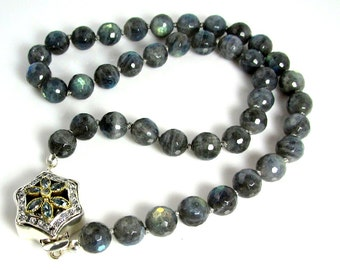 "LP 968  Beautiful Round Faceted Labradorite Hand Knotted Necklace   "" One Of A Kind """