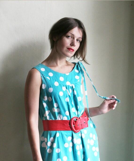 Mint Polkadot cotton Dress 1980ies oversized sleeveless with Ribbon