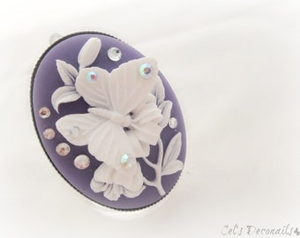 Purple butterfly cameo ring, spring jewellery, bridesmaid gift, romantic ring