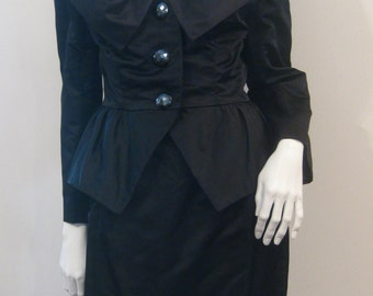 Amazing VTG 80s Silk Satin Black Evening Couture Cocktail Skirt /jacket Suit