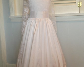 sizes 7-10  White or ivory Silk and Lace Flower Girl/ First Communion Dress - Long Lace Sleeves MB10006