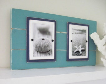 Distressed Double Plank Frame for 4x6 Pictures Turquoise and Navy