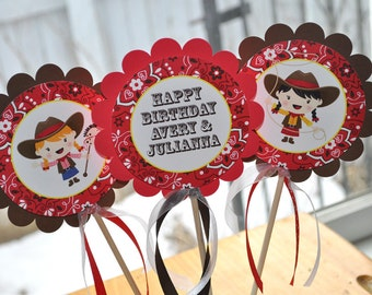 Cowgirl Birthday Centerpiece Sticks - Cowgirl Birthday Decorations - Western Birthday Party - Set of 3