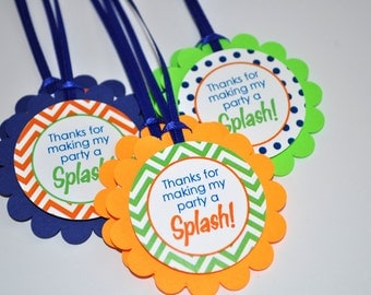 Boys 1st Birthday Favor Tags, Thank You Favor Tags, Party Favors, Chevron Birthday Party Polkadots Navy Blue, Orange and Green - Set of 12